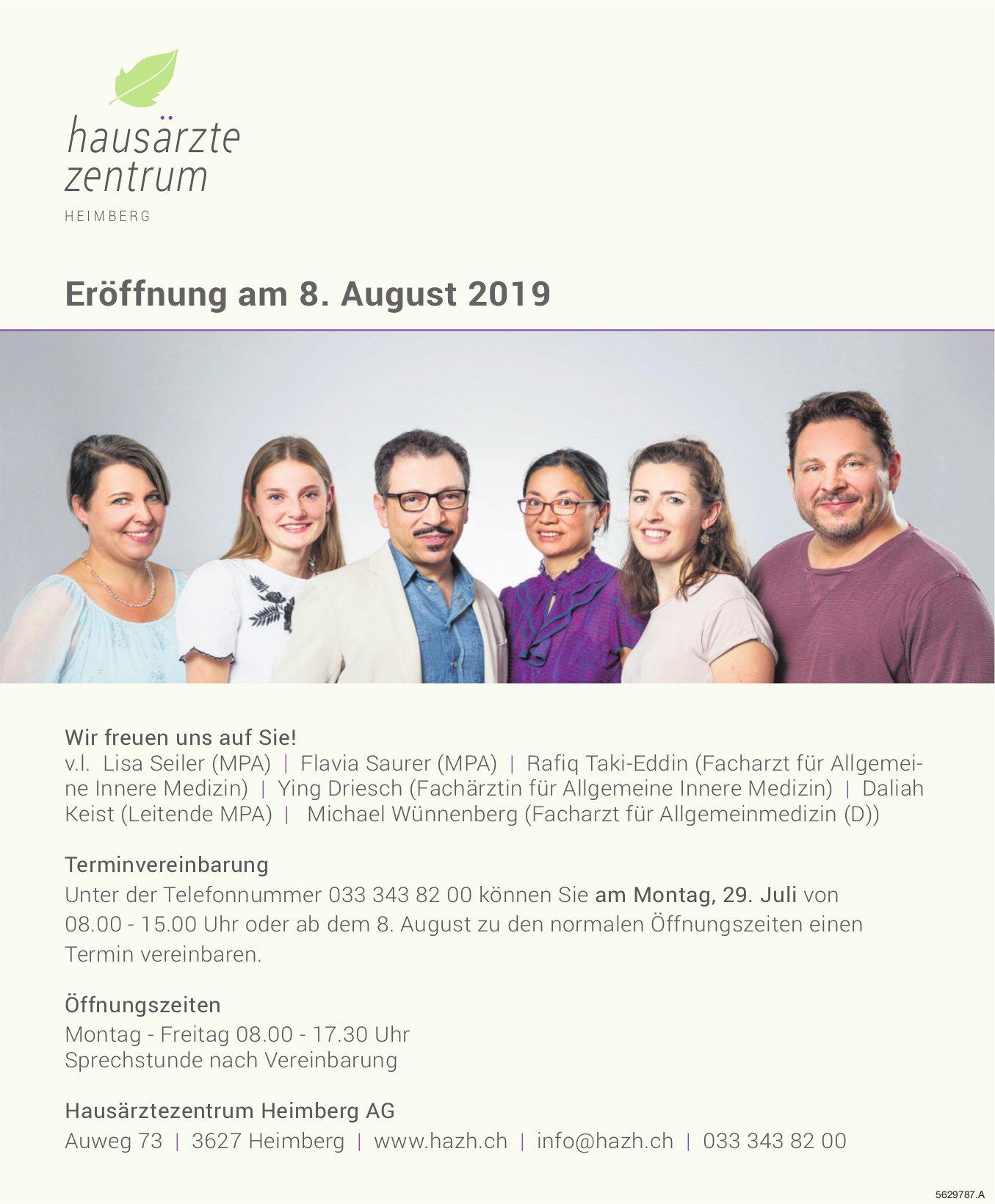 Hausärztezentrum Heimberg AG - Eröffnung am 8. August