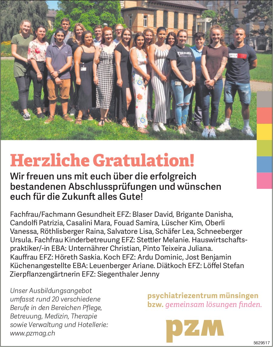 Herzliche Gratulation! Wir freuen uns mit euch über die erfolgreich bestandenen Abschlussprüfungen