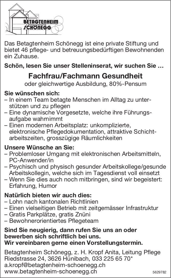 Fachfrau/Fachmann Gesundheit, 80%, Betagtenheim Schönegg, Hünibach, gesucht