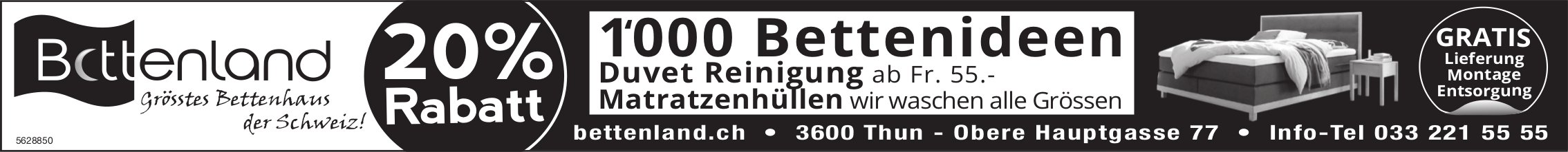 Bettenland, Thun - 20% Rabatt, 1'000 Bettenideen
