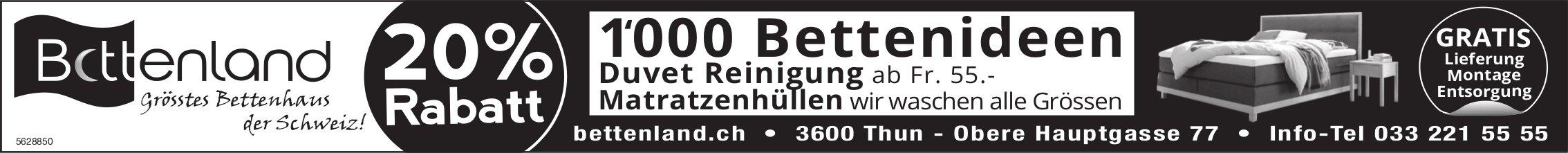 Bettenland, Thun - 20% Rabatt, 1'000 Bettenideen