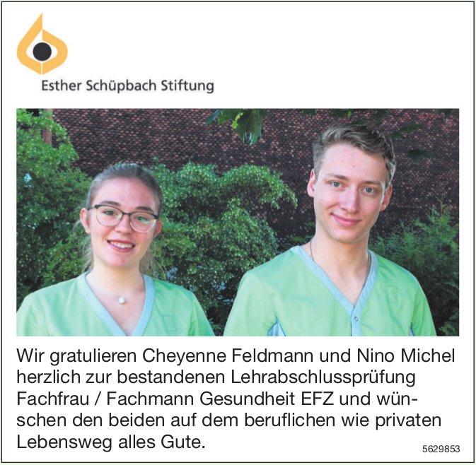 Wir gratulieren Cheyenne Feldmann und Nino Michel herzlich zur bestandenen Lehrabschlussprüfung