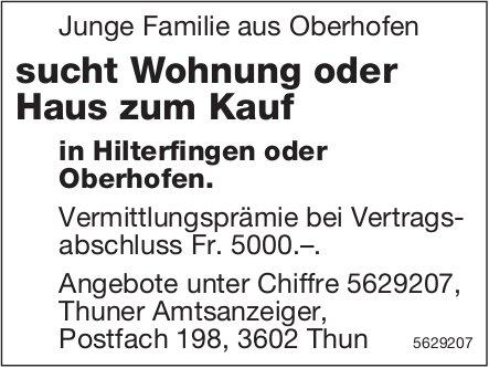 Junge Familie aus Oberhofen sucht Wohnung oder Haus zum Kauf in Hilterfingen oder Oberhofen.