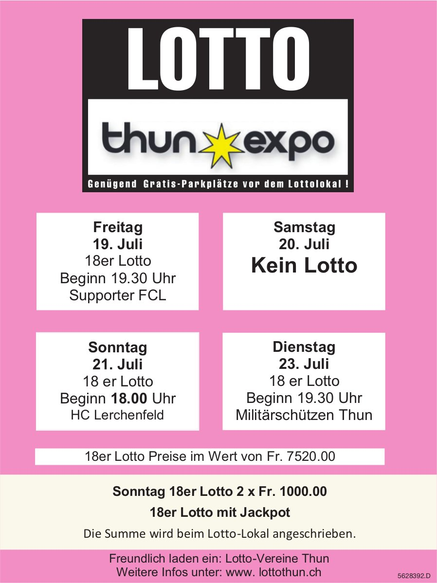 LOTTO Thun Expo, 19./21./23. Juli