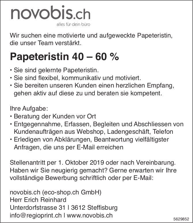 Papeteristin 40 – 60 %, novebis.ch, Steffisburg, gesucht