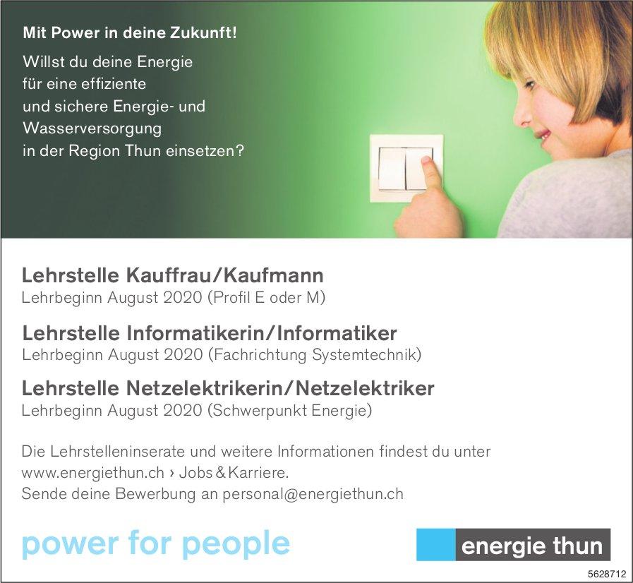 Lehrstellen Kauffrau/Kaufmann, Informatiker/in, Netzelektriker/in, Energie Thun, zu vergeben
