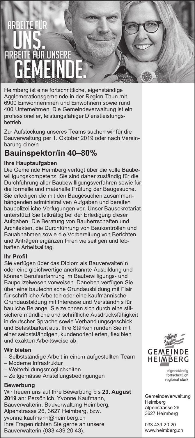 Bauinspektor/in 40–80%, Einwohnergemeinde Heimberg, gesucht