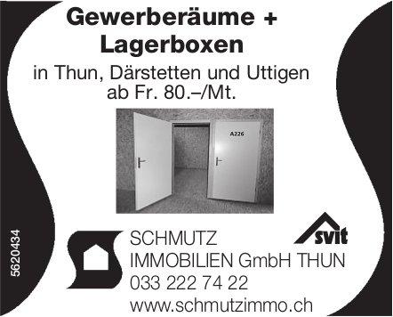 Gewerberäume + Lagerboxen in Thun, Därstetten und Uttigen ab Fr. 80.–/Mt. zu vermieten