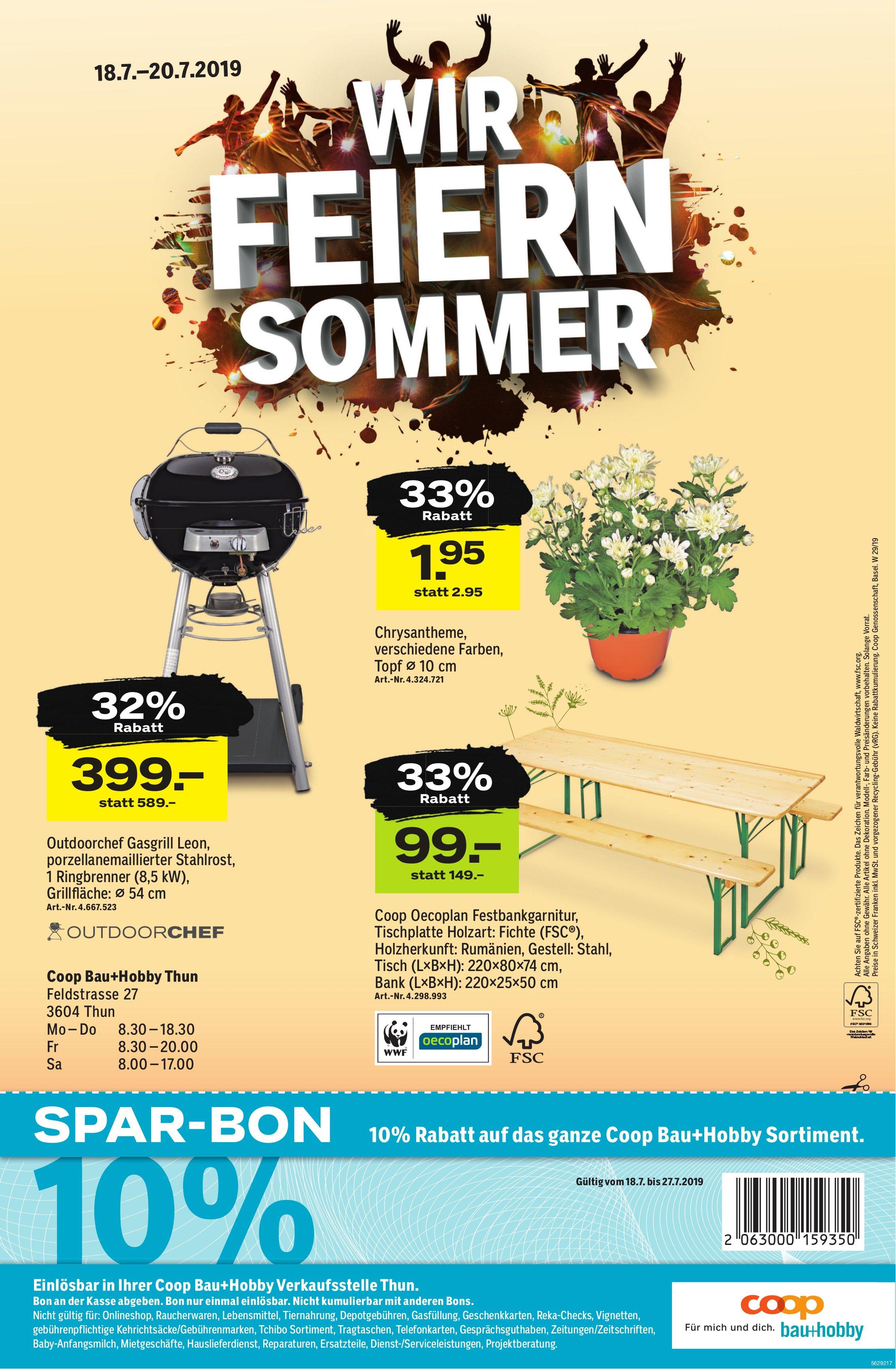 COOP Bau-Hobby, Thun - Wir feiern Sommer, 18. - 20. Juli