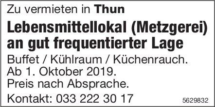 Lebensmittellokal (Metzgerei) an gut frequentierter Lage in Thun zu vermieten