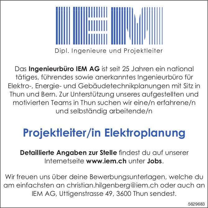 Projektleiter/in Elektroplanung, Ingenieurbüro IEM AG, Thun, gesucht