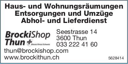BrockiShop Thun - Haus- und Wohnungsräumungen, Entsorgungen und Umzüge usw.