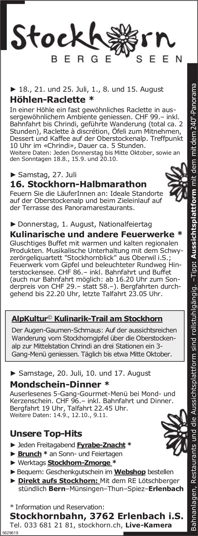 Stockhornbahn - Programm & Events