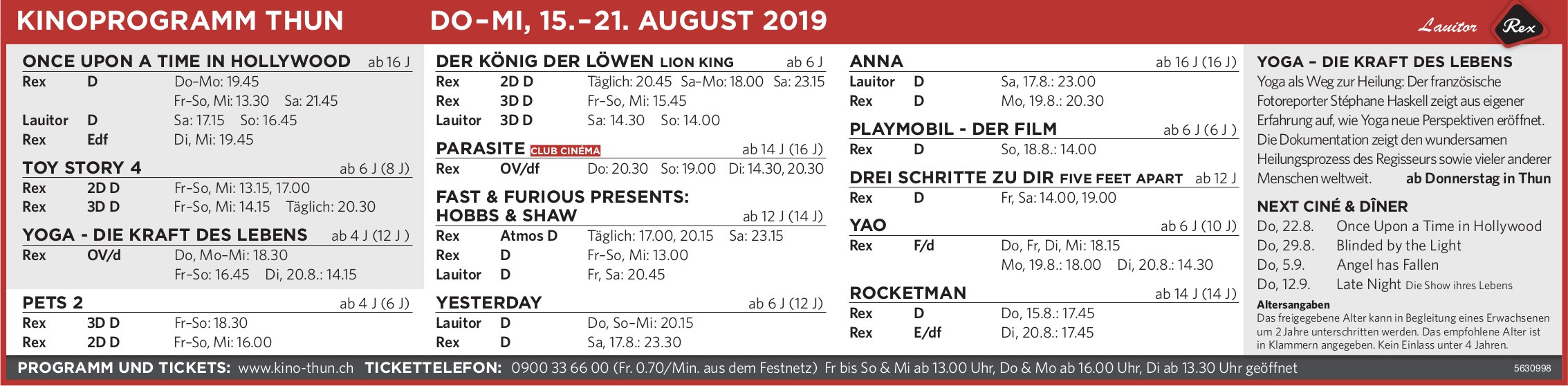 KINOPROGRAMM THUN, DO–MI, 15.–21. AUGUST