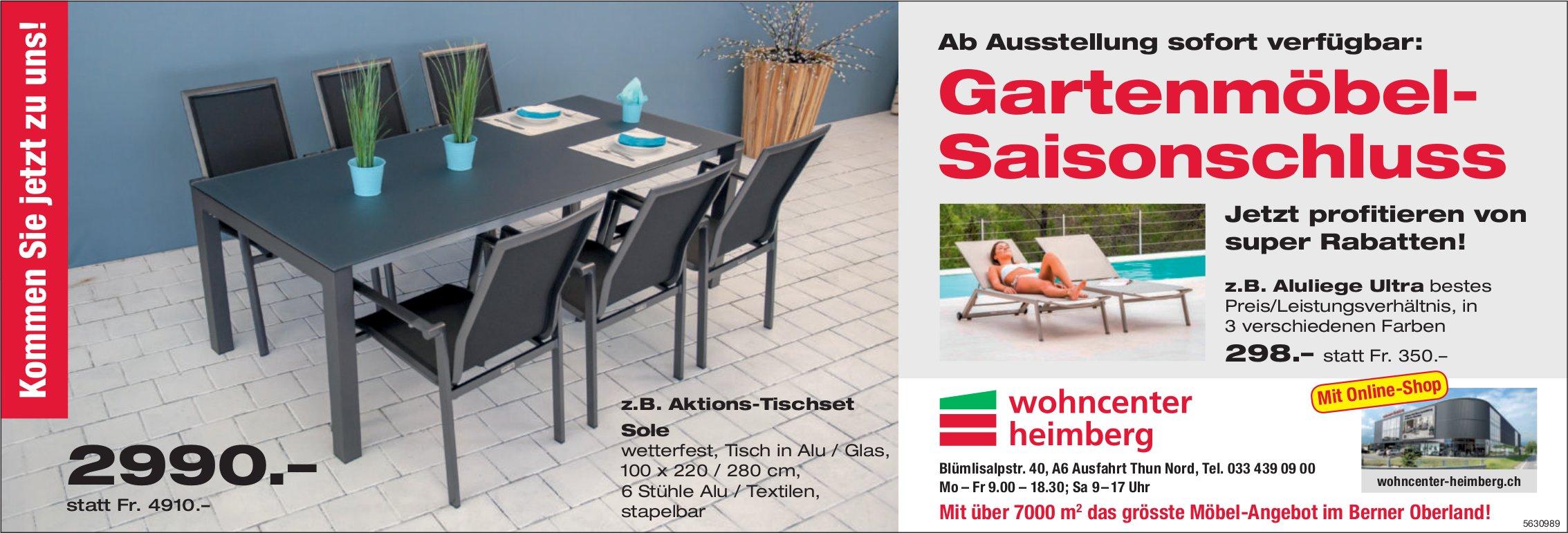 Wohncenter Heimberg - Gartenmöbel- Saisonschluss