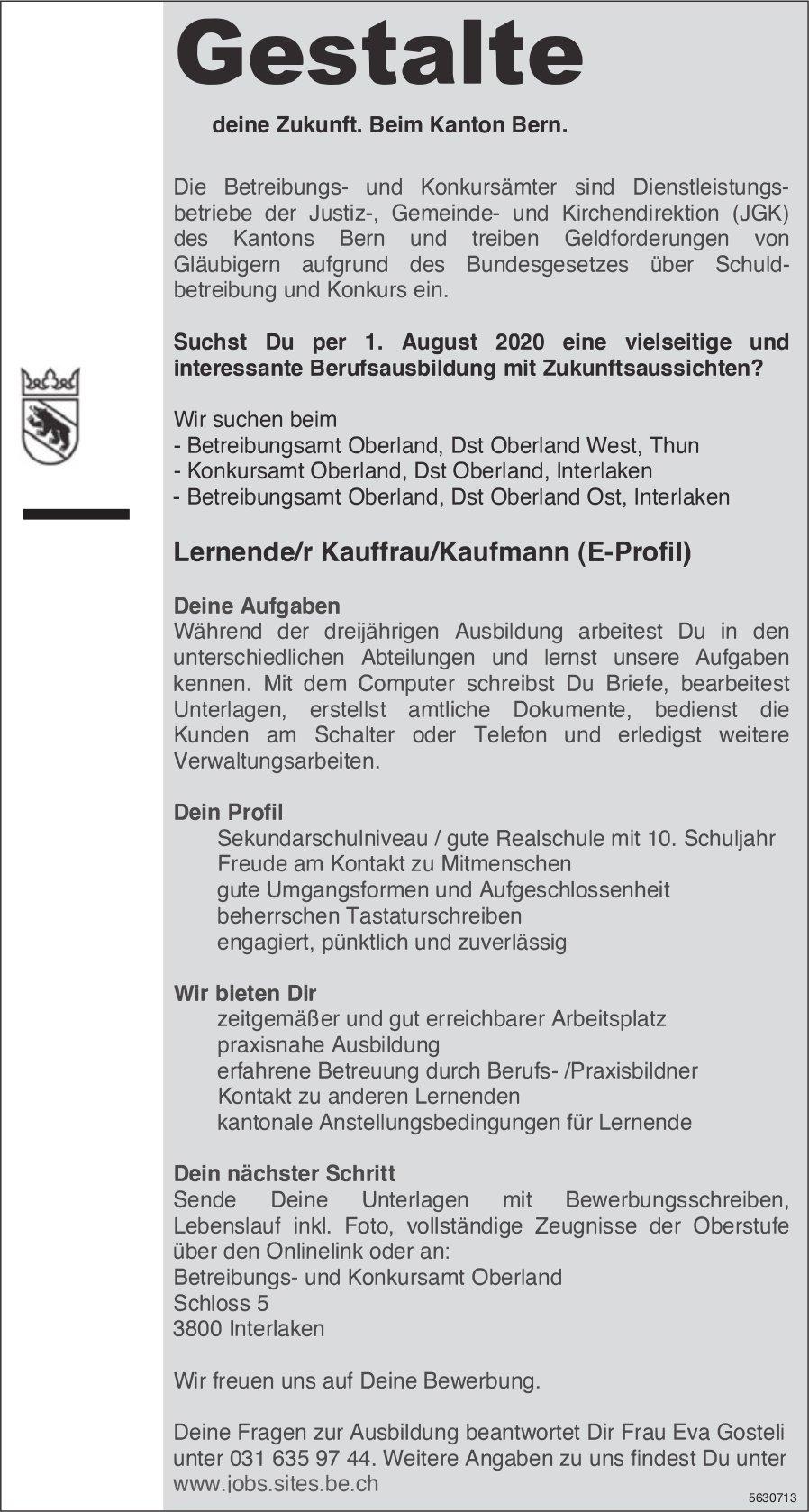 Lernende/r Kauffrau/Kaufmann (E-Profil) bei JGK des Kantons Bern gesucht