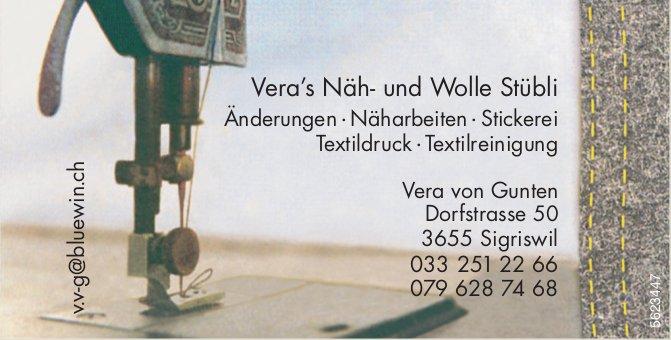 Vera's Näh- und Wolle Stübli - Änderungen, Näharbeiten, Stickerei