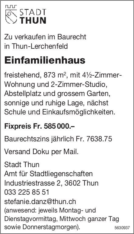 Einfamilienhaus im Baurecht in Thun-Lerchenfeld zu verkaufen
