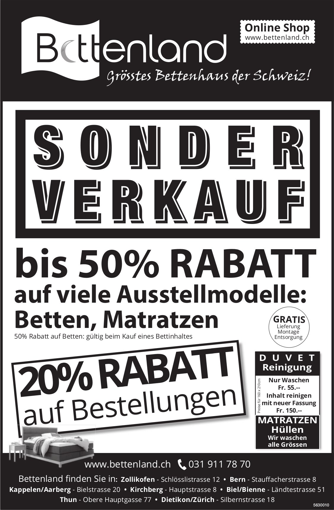 SONDERVERKAUF bis 50% RABATT, Bettenland, Thun