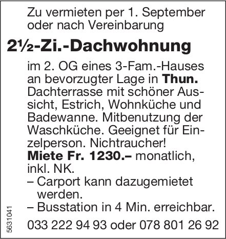 2½-Zi.-Dachwohnung in Thun zu vermieten