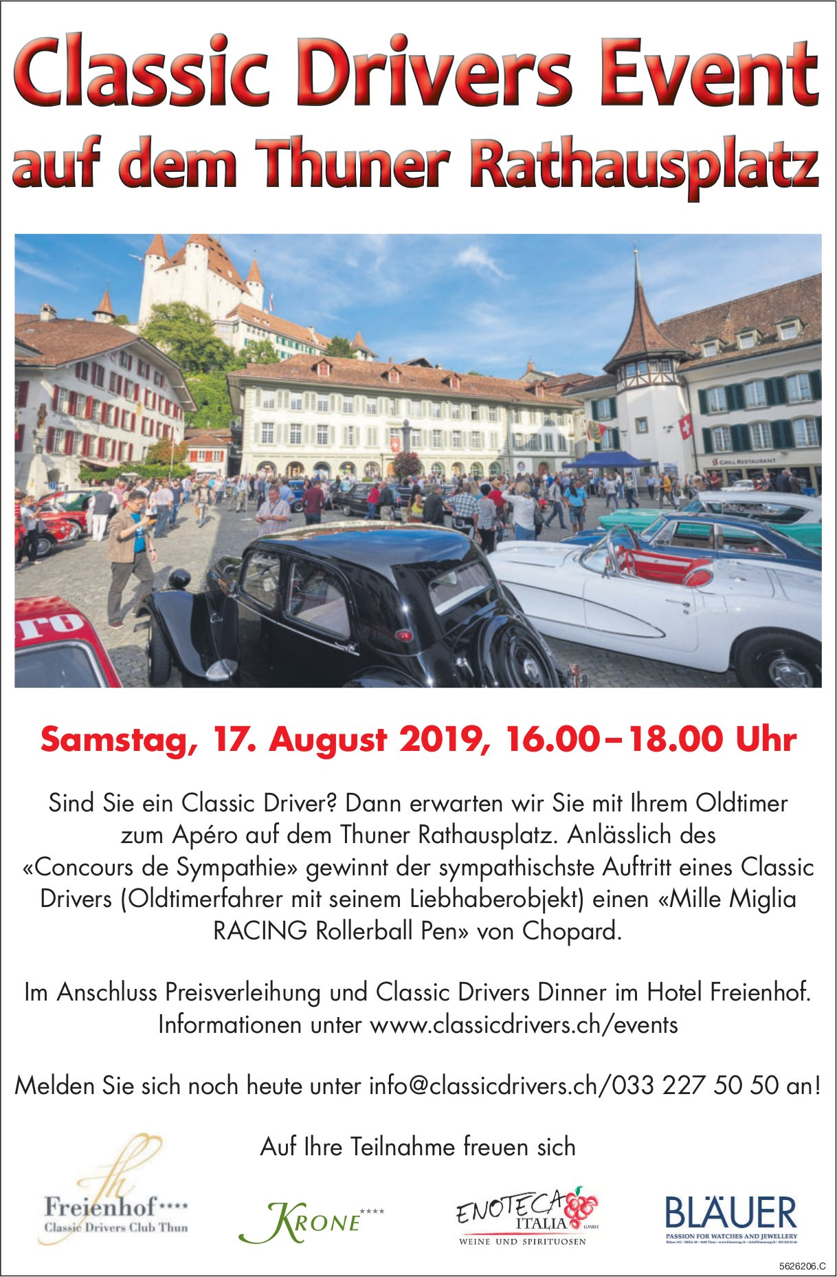 Classic Drivers Event auf dem Thuner Rathausplatz am 17. August