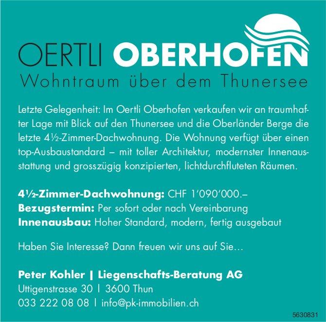 Letzte 4.5-Zimmer-Dachwohnung im Oertli Oberhofen zu verkaufen