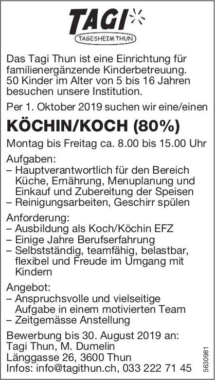 KÖCHIN/KOCH (80%) bei Tagi Thun, Tagesheim, gesucht