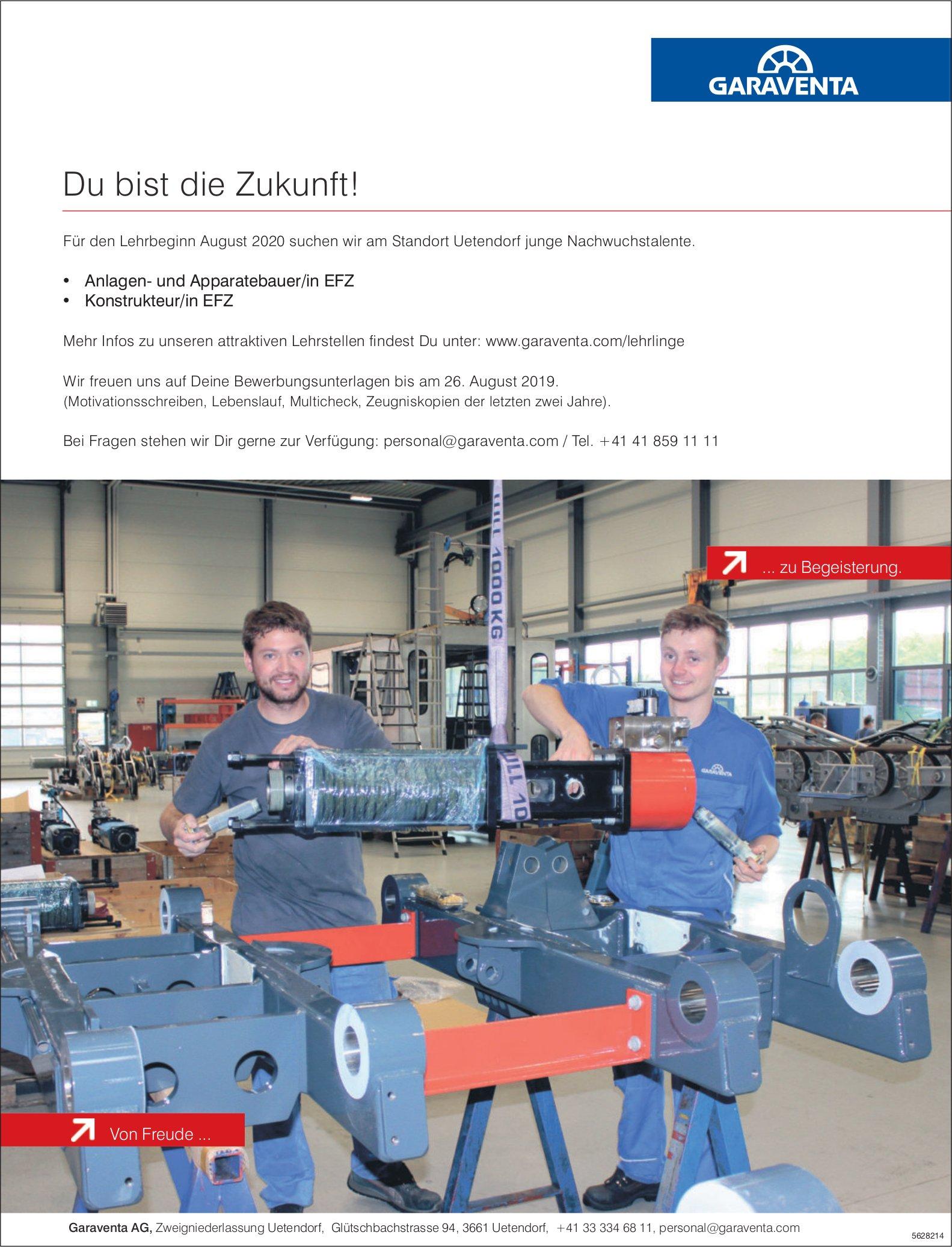 Lehrstellen als Anlagen- und Apparatebauer/in EFZ  / Konstrukteur/in EFZ bei Garaventa zu besetzen
