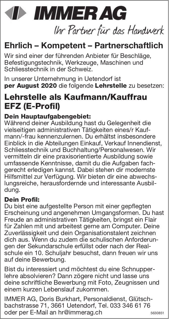 Lehrstelle als Kaufmann/Kauffrau EFZ (E-Profil) bei IMMER AG zu besetezn