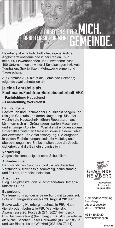 Zwei Lehrstellen als Fachmann/Fachfrau Betriebsunterhalt EFZ bei Gemeinde Heimberg zu besetzen