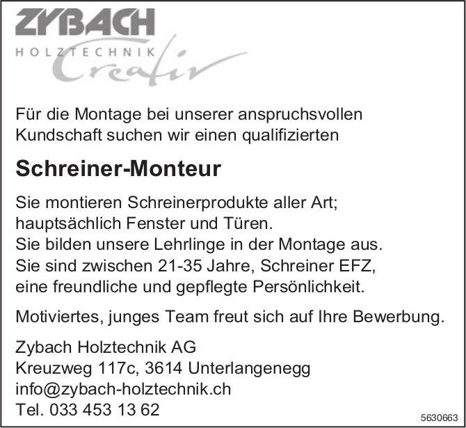 Schreiner-Monteur bei Zybach Holztechnik AG gesucht