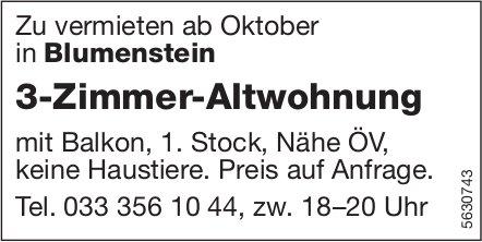3-Zimmer-Altwohnung in Blumenstein zu vermieten