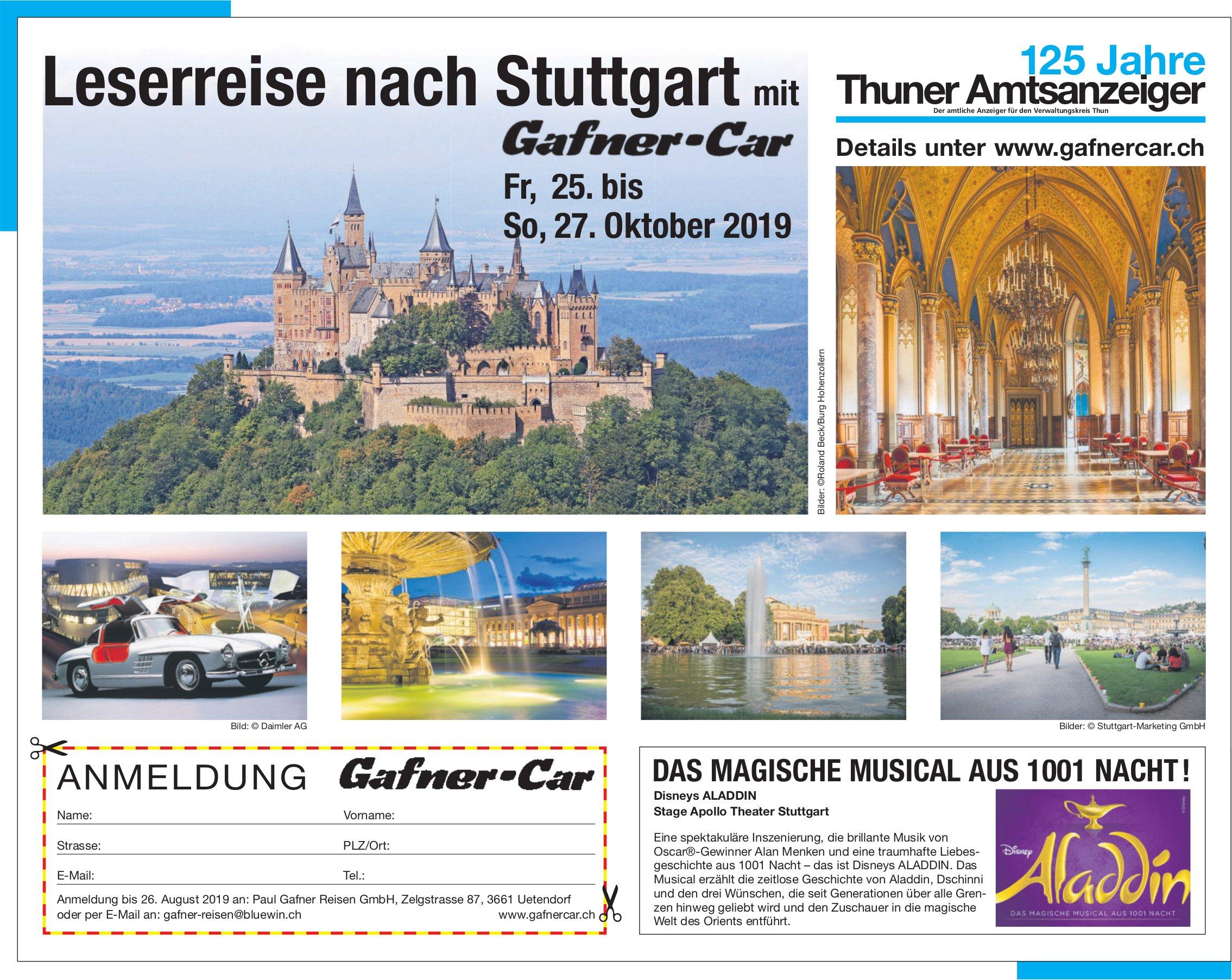 125 Jahre Thuner Amtsanzeiger - Leserreise nach Stuttgart mit Gafner-Car, 25.-27. Oktober