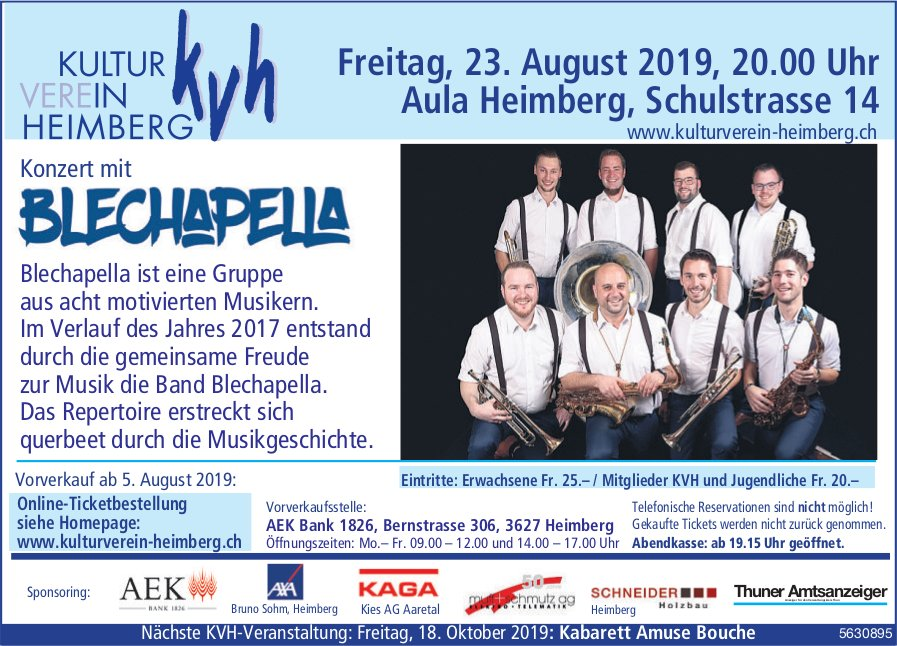 KVH - Konzert mit Blechapella am 23. August