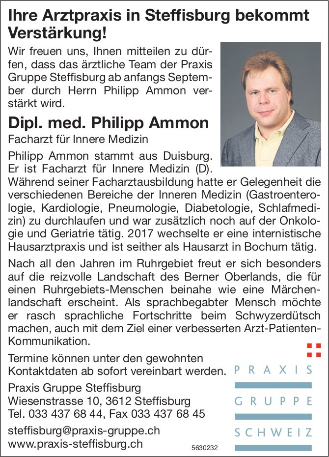 Ihre Arztpraxis in Steffisburg bekommt Verstärkung! - Dipl. med. Philipp Ammon