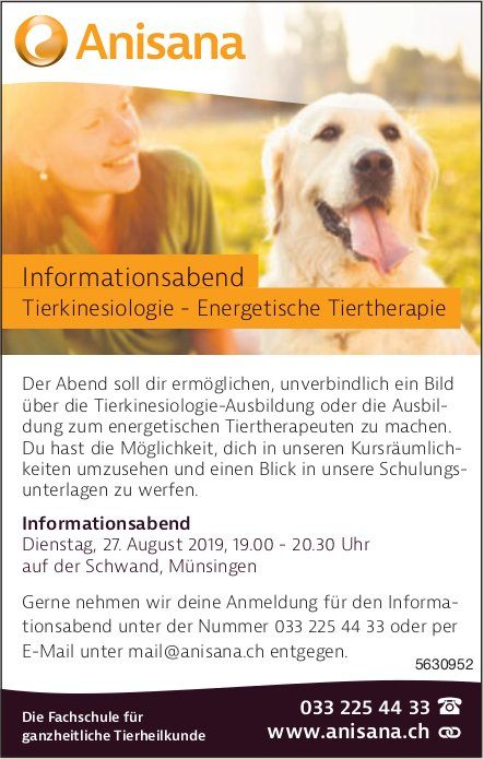 Anisana - Informationsabend Tierkinesiologie - Energetische Tiertherapie am 27. August