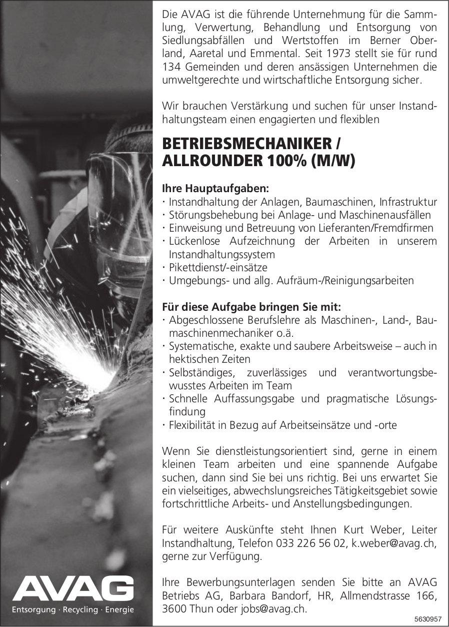 BETRIEBSMECHANIKER / ALLROUNDER 100% (M/W) BEI AVAG BETRIEBS AG GESUCHT