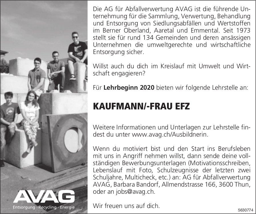 Lehrstelle als KAUFMANN/-FRAU EFZ bei AVAG zu besetzen