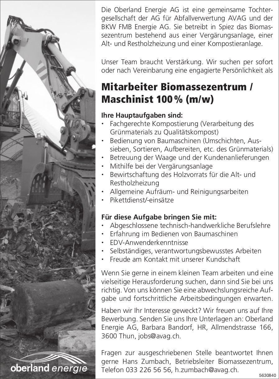 Mitarbeiter Biomassezentrum / Maschinist 100 % (m/w) bei Oberland Energie AG gesucht