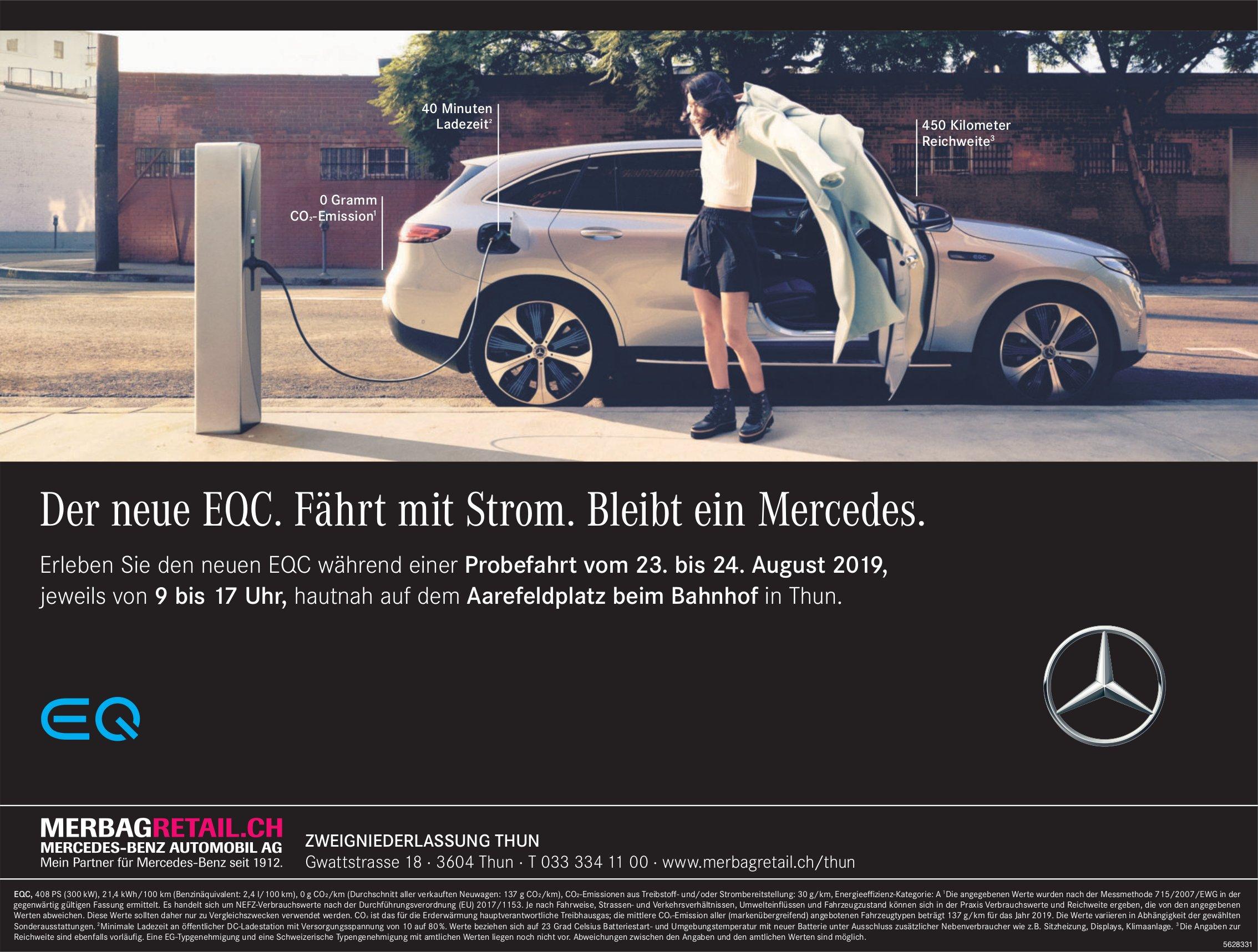 MERCEDES-BENZ AUTOMOBIL AG, Thun - Der neue EQC. Fährt mit Strom. Bleibt ein Mercedes.