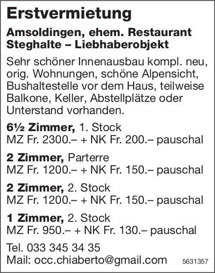 Erstvermietung von 1 bis 6.5 Zimmer-Wohnungen in Amsoldingen
