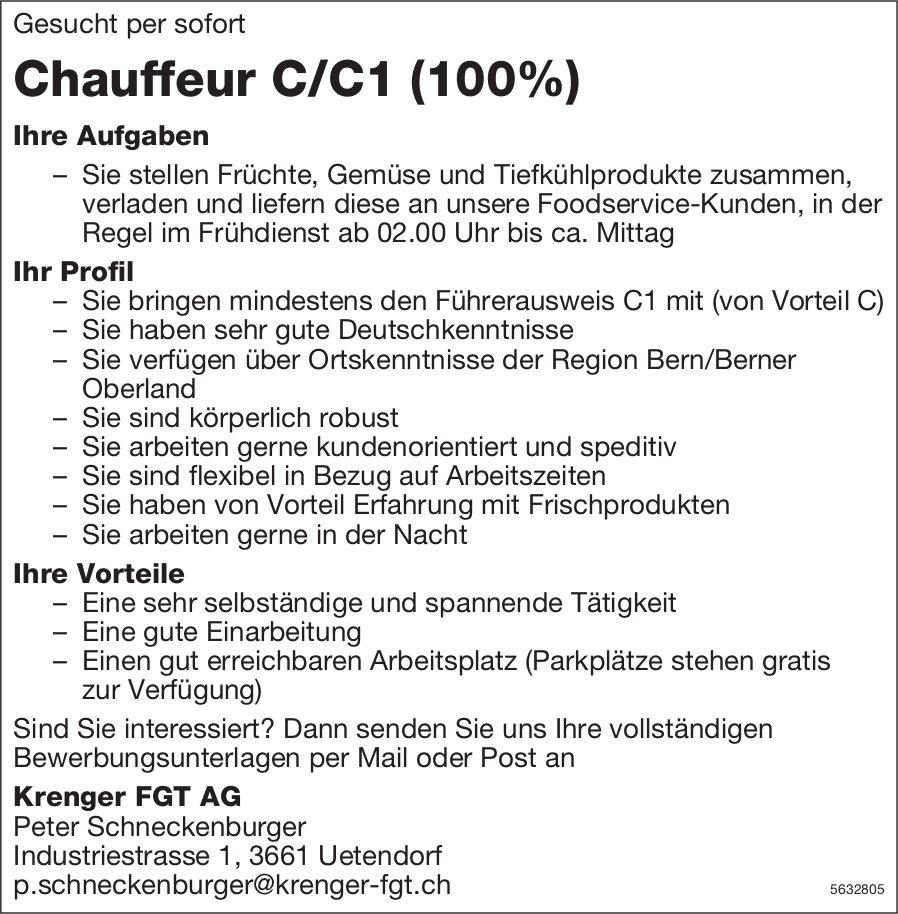 Chauffeur C/C1 (100%), Krenger FGT AG, Uetendorf, gesucht