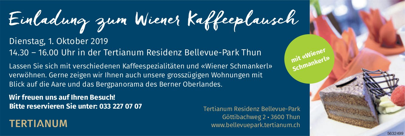 Tertianum Residenz Bellevue-Park - Einladung zum Wiener Kaffeeplausch am 1. Oktober