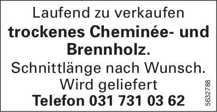Laufend zu verkaufen trockenes Cheminée- und Brennholz.