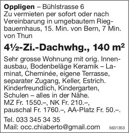 4½-Zi.-Dachwhg., 140 m2 in Oppligen zu vermieten