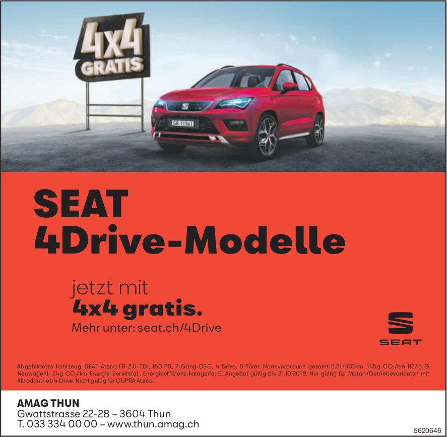 AMAG THUN - SEAT 4Drive-Modelle jetzt mit gratis 4x4