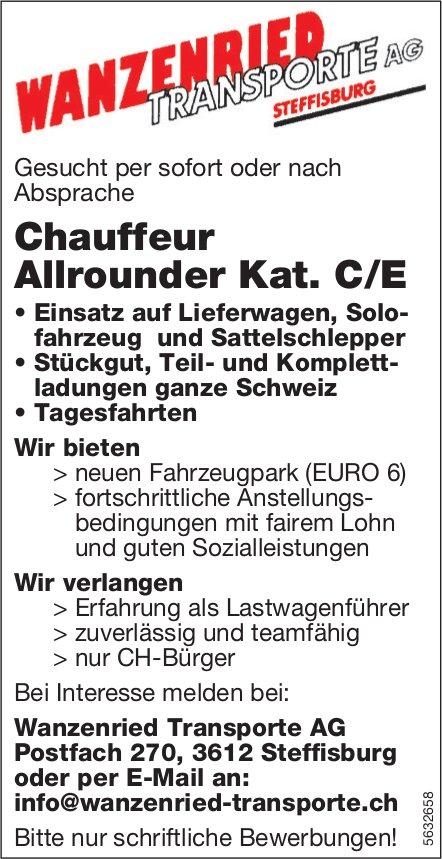 Chauffeur Allrounder Kat. C/E, Wanzenried Transporte AG, Steffisburg, gesucht