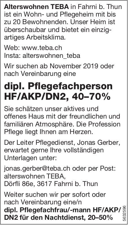 Dipl. Pflegefachperson HF/AKP/DN2, 40–70%, Alterswohnen TEBA, Fahrni b. Thun, gesucht