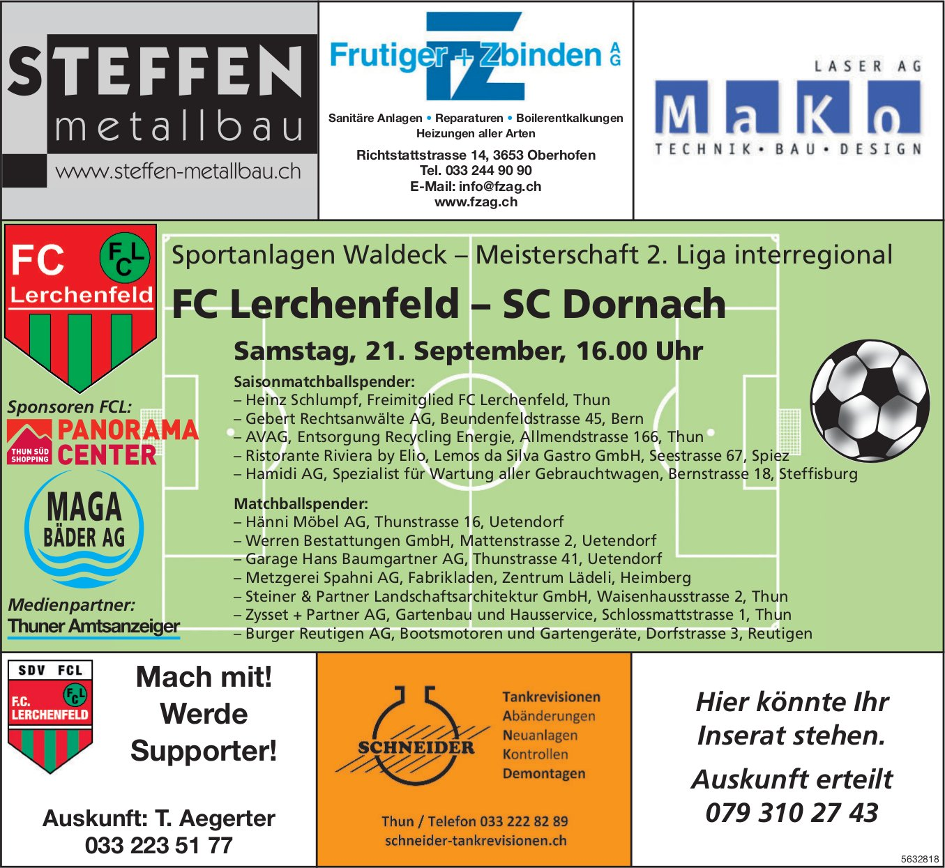 Meisterschaft 2. Liga interregional - FC Lerchenfeld vs. SC Dornach am 21. September