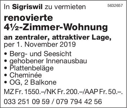 Renovierte 4½-Zimmer-Wohnung in Sigriswil zu vermieten